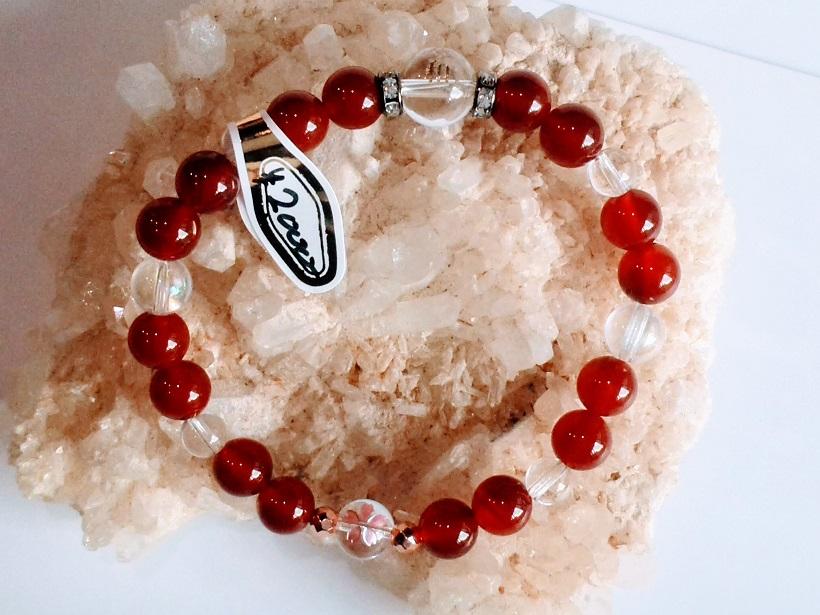 新元号「令和」天然石ブレスレット「赤瑪瑙+水晶(細)」