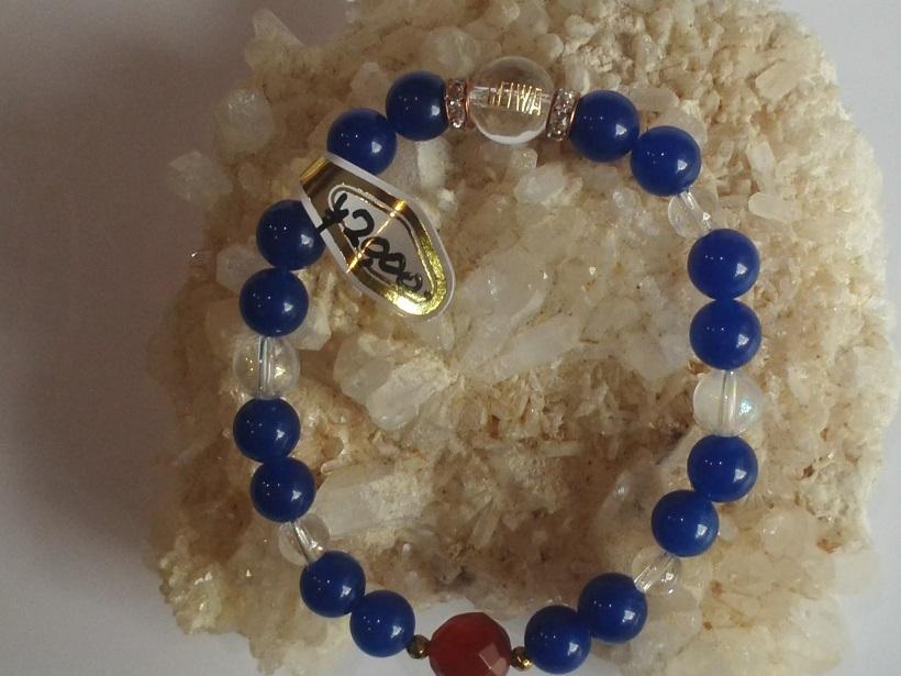 新元号「令和」天然石ブレスレット「青瑪瑙+水晶(細)」