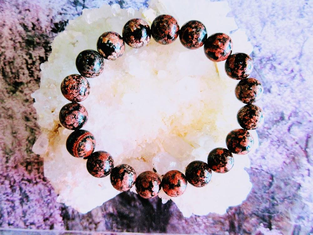 【約10.54mm玉天然石ブレスレット】サクラ黒曜石 (ペルー産)